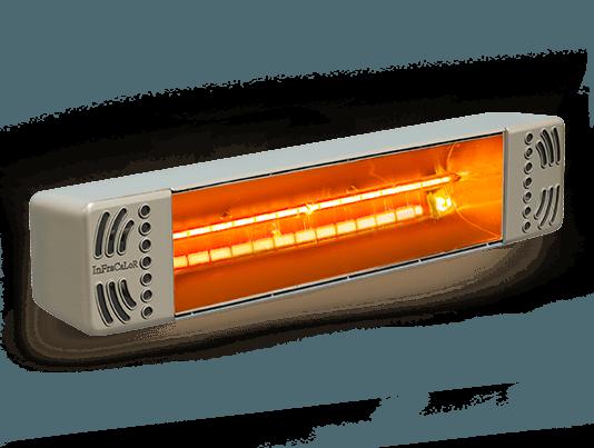 riscaldatore a raggi infrarossi color nocciola modello infratop con bulbo infracalor di star progetti
