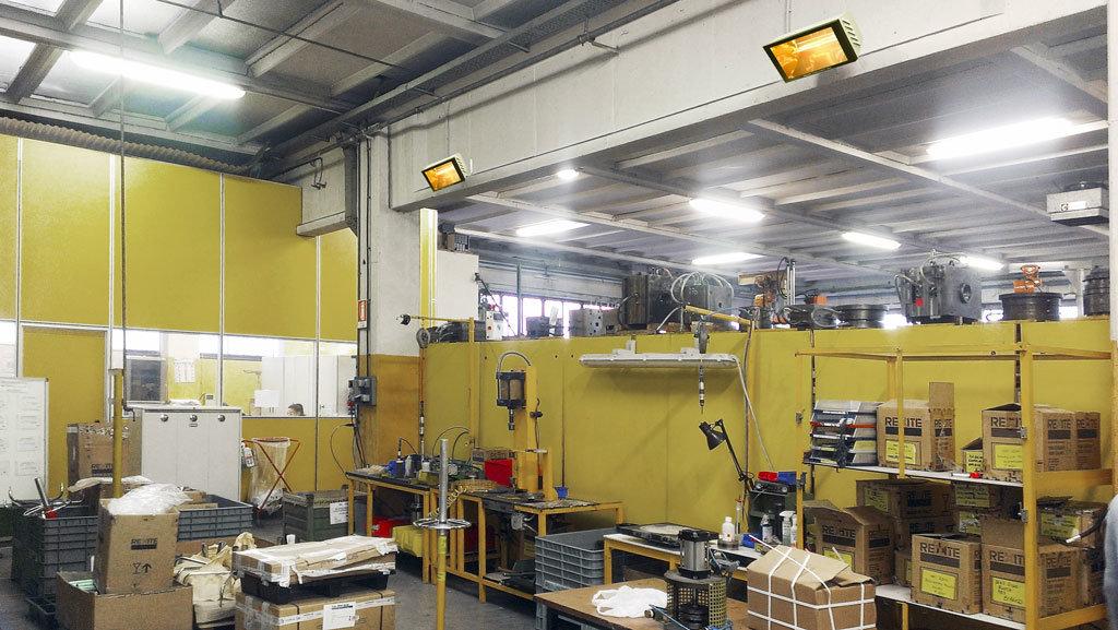 zone di lavoro di un capannone riscaldate con le lampade a infrarossi helios radiant di star progetti