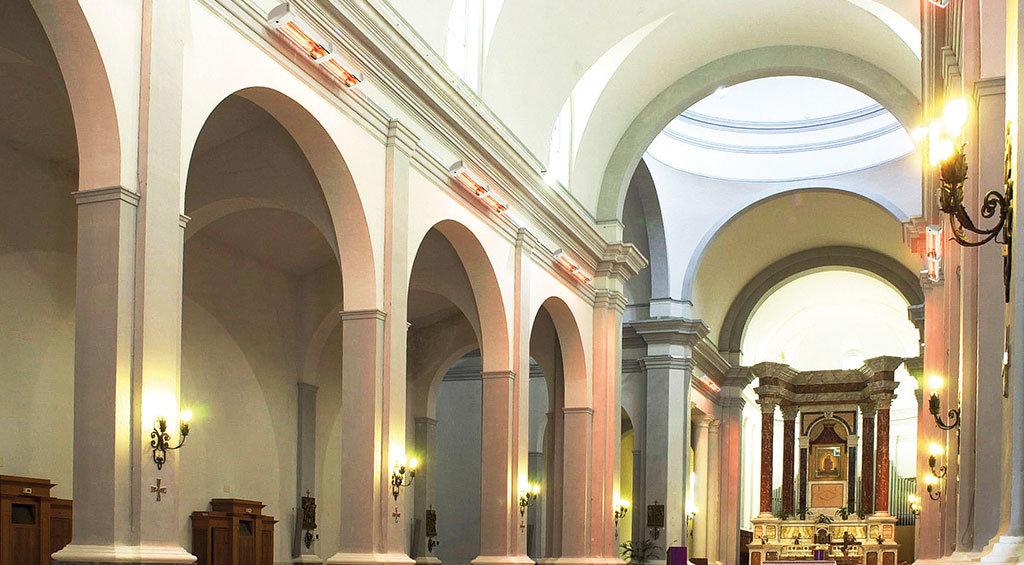 chiesa riscaldata con il riscaldamento per irraggiamento di Star Progetti