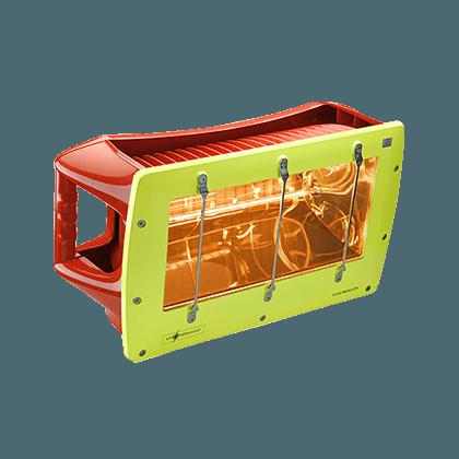lampada riscaldante per casi di ipotermia nel primo soccorso con indice di protezione IP66 contro pioggia, getti d'acqua, polvere e umidità