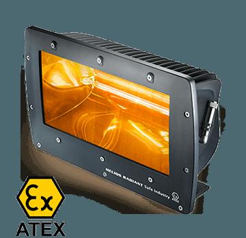 riscaldatore elettrico industriale con certificazione atex e vetro di sicurezza per riscaldamento capannoni industriali colore nero helios radiant safe industry