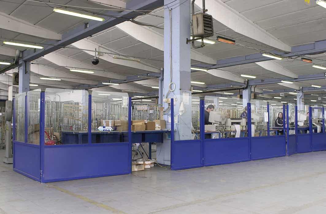 separatori ambiente industriali alluminio e vetro