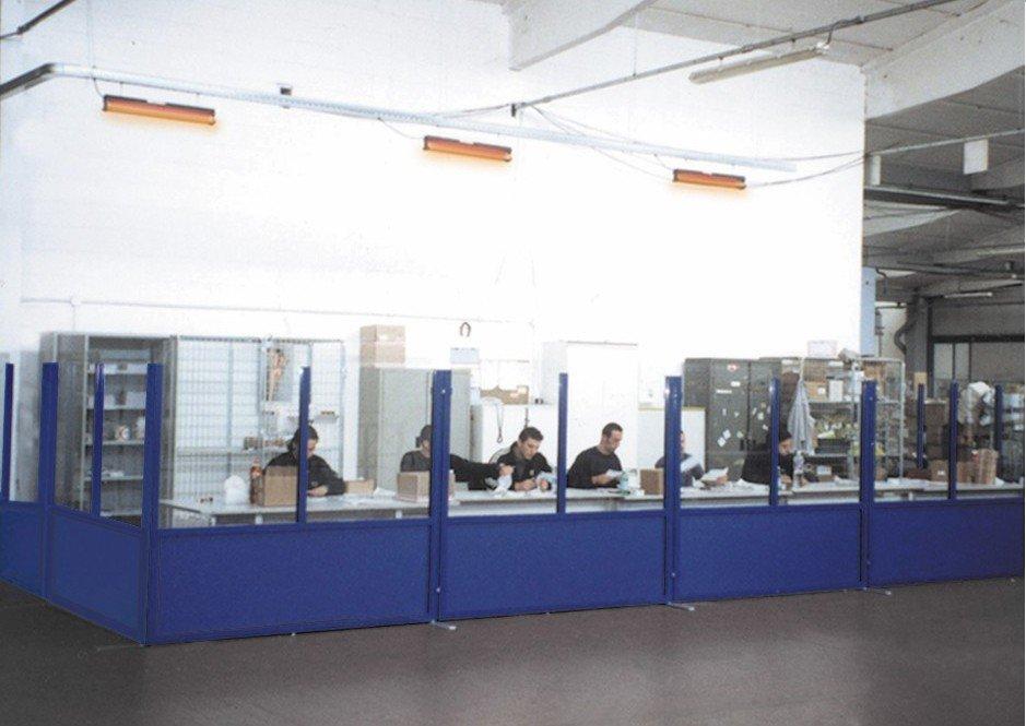 pareti divisori industriali mobili in alluminio e vetro