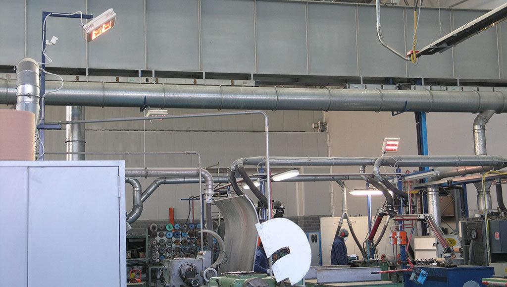 esempio di riscaldamento di un capannone con le lampade riscaldanti a raggi infrarossi di star progetti modello hp2 su supporto