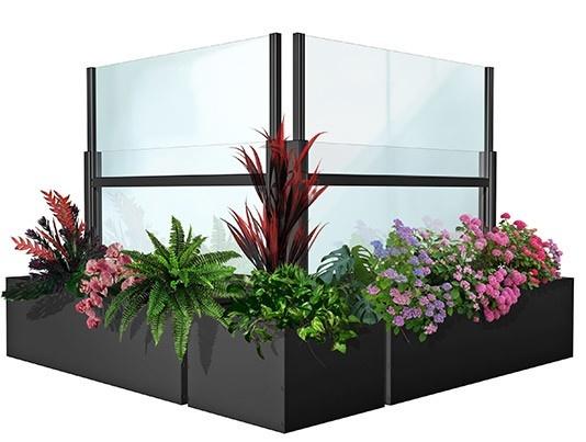 paravento per dehors con fioriera colore ad altezza ragolabile ferro micaceo